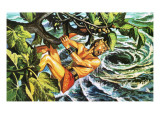 Odysseus Hanging on to a Fig Tree to Escape the Whirlpool Giclee Print by Payne