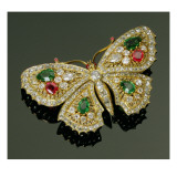 Late Victorian Multi-Gem Set Butterfly Brooch, C.1880 Giclee Print by  English School