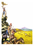 Red Indians Observing a Wagon Train Moving West Giclee Print by Ron Embleton