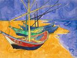 Fishing Boats on the Beach at Saintes-Maries-De-La-Mer Impression giclée par Vincent van Gogh