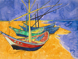 Fishing Boats on the Beach at Saintes-Maries-De-La-Mer Premium Giclee Print by Vincent van Gogh