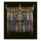 Reliquary Casket, Decorated with Enamel Plaques Depicting the Crucifixion Giclée-tryk