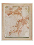 A Soldier Running to the Right and Two Mounted Horsemen with their Arms Outstretched Giclee Print by  Raphael