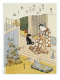 A Courtesan Seated on a Verandah Brushing Her Teeth Giclee Print by Suzuki Harunobu