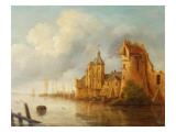 A River Landscape with Fishermen by a Castle Reproduction proc&#233;d&#233; gicl&#233;e par Claude de Jongh