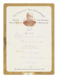 Menu at Prince Von Bismarck's 79th Birthday Celebration on the 1st April 1894 Giclee Print by  German School