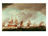 An English Vice-Admiral of the Red and His Squadron at Sea, C.1750-59 Giclee Print by Charles Brooking