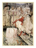 How Galahad Drew Out the Sword from the Floating Stone at Camelot Giclee Print by Arthur Rackham