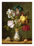 Irises, Roses and Other Flowers in a Porcelain Vase, 1622 Giclee Print by  Ast