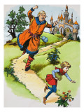 The Giant Chases Jack, Illusration from 'Jack and the Beanstalk', 1969 Giclee Print by English School