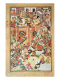 Genghis Khan Captures a Chinese Town, Miniature Giclee Print by  Persian School