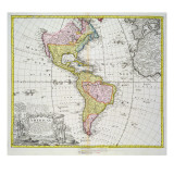 Map of the Americas, Published by Homann, 1746 Giclee Print by A. Gottlieb Boehm