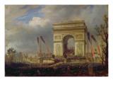 Fete De La Fraternite at the Arc De Triomphe, Place De L'Etoile, Paris Om 20th April 1848 Giclee Print by Hippolyte Victor Valentin Sebron