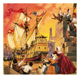 Columbus Setting Sail in the Santa Maria in August 1492 Giclee Print by Mcbride