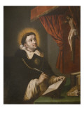 St. Thomas Aquinas Writing before the Crucifix Giclee Print by Antonio Rodriguez