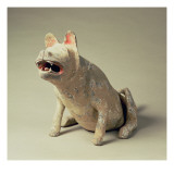 Early Chinese Pottery Seated Dog, Tomb Artefact, Han Dynasty, 206 Bc-220 Ad Giclee Print by  Chinese School