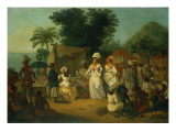 A Linen Market with a Linen Stall and a Vegetable Seller in a Colonial Settlement Giclee Print by Agostino Brunias
