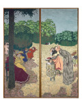 The Public Gardens: Young Girls Playing and the Interrogation, 1894 Giclee Print by Edouard Vuillard