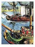 Robert Clive Sails Up the Bay of Bengal to the Mouth of the Ganges Giclee Print by  English School