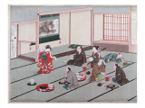 Japanese Eating, Drinking and Being Entertained in Teahouse Giclee Print by Japanese School