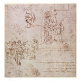 W.3V Roughly Sketched Designs for Furniture and Decorations Giclee Print by  Michelangelo Buonarroti