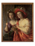 An Arcadian Double Portrait of Two Ladies as Shepherdesses Lámina giclée por Gerrit van Honthorst