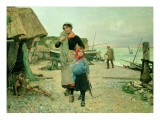 Fisherfolk Returning with their Nets, Etretat, 1882 Premium Giclee Print by Henry Bacon