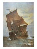 The Mayflower Carrying the Pilgrim Fathers across the Atlantic to America in 1620 Reproduction procédé giclée par Marshall Johnson