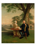 Gentleman with Violin and His Wife, Possibly Thomas Strakie, Mayor of Preston Giclee Print by Arthur Devis