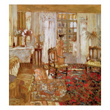Interior with a Woman in Yellow in Front of a Window Gicl&#233;e-Druck von Edouard Vuillard