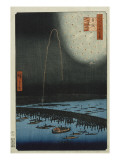 Fireworks at Ryogoku, from the Series 'One Hundred Famous Views of Edo' Giclee Print by Ando Hiroshige