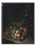 Peaches, Grapes, Pomegranates, Melons, a Corncob, Apricots, Plums, Pears, Acorns, 1718 Giclee Print by Rachel Ruysch