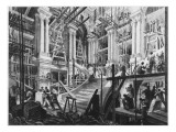 Building of the Great Staircase, Opera, Paris Giclee Print by Auguste Victor Deroy