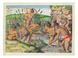 How the Indians Collect Gold from the Streams, from 'Brevis Narratio..' Giclee Print by Jacques Le Moyne
