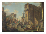 An Architectural Capriccio with the Arch of Constantine Giclee Print by Giovanni Paolo Pannini