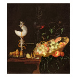 A Still Life of Fruit with a Nautilus Cup on a Draped Ledge Giclee Print by Georg Hinz