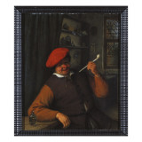 A Peasant in a Red Beret Smoking a Pipe, in an Interior Giclee Print by Adriaen Jansz. Van Ostade