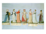Dresses and Costumes in Vogue During the French Revolution Giclee Print by Pierre Antoine Lesueur