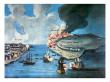 View of Boston and the Battle of Bunker Hill, 17 June 1775 Giclee Print by  American School