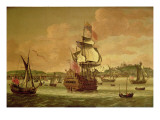 Charles Ii on Board a Two-Decker Man-O'-War Off Dover, C.1675 Giclee Print by Jacob Knyff