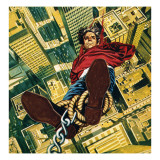 Harry Houdini Suspended from the Top of a New York Skyscaper Giclee Print by  English School