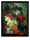 Mixed Flowers and Pineapples in an Urn with a Bird's Nest and a Cat Giclee Print by Jan van Os