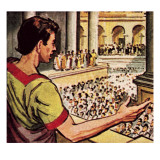 Mark Antony Speaking About the Murdered Julius Caesar to the People of Rome Giclee Print by  English School