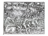 Procession of Natives Drinking and Smoking, Engraved by Theodor De Bry Giclee Print by Jacques Le Moyne