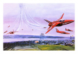 The Red Arrows Aerobatic Team, Depicted in 1978 Giclee Print by Graham Coton