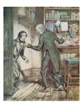 Scrooge and Bob Cratchit, from Dickens' 'A Christmas Carol' Giclee Print by Arthur Rackham