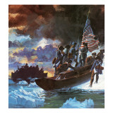 George Washington and His Men Crossing the Half-Frozen Delaware River Giclee Print by  Payne