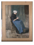 Young Scheveningen Woman Knitting, Facing Right, 1881 Reproduction procédé giclée par Vincent van Gogh