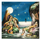 Peter and the Mermaids, Illustration from 'Peter Pan' by J.M. Barrie Impression giclée par Nadir Quinto