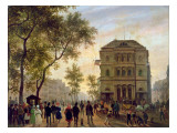 Boulevard Saint-Martin and the Theatre De L'Ambigu, 1830 Giclee Print by Guiseppe Canella